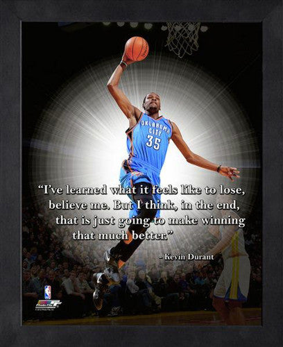 "Kevin Durant ""Winning"" Oklahoma City Thunder FRAMED 16x20 PRO QUOTES PRINT - Photofile"