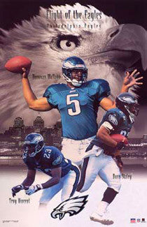 "Philadelphia Eagles ""Flight of the Eagles"" Poster (McNabb, Staley, Vincent) - Starline 2002"