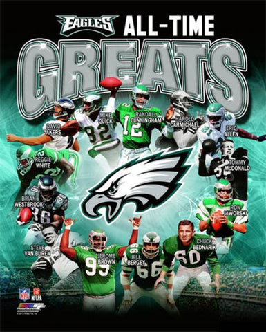 "Philadelphia Eagles ""All-Time Greats"" (14 Legends) Premium Commemorative Print - Photofile Inc."