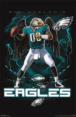 "Philadelphia Eagles ""On Fire"" NFL Theme Art Poster - Costacos Sports"