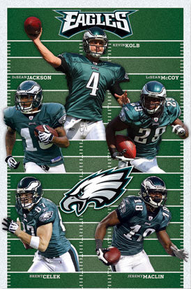 "Philadelphia Eagles ""Gridiron Five"" (2010) NFL Action Poster - Costacos Sports"