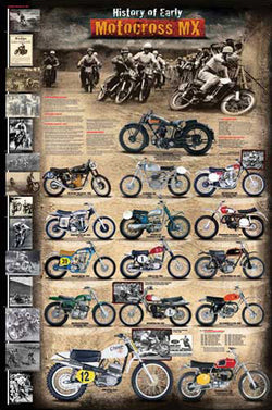 The History of Early Motocross Dirt Bike Racing Wall Chart Poster - Eurographics Inc.