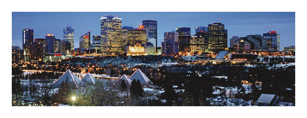 "Edmonton, Alberta, Canada ""Winter Sunset"" Panoramic Poster Print - Canadian Art Prints"
