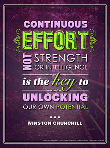 Effort (Unlock Potential) Inspirational Winston Churchill Quote Poster - Jaguar Educational