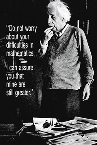 "Albert Einstein ""Difficulties in Math"" Classic Inspirational Quote Profile Poster - Eurographics"