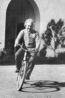 "Albert Einstein ""Bike Rider"" (1933) Black-And-White Poster - Pyramid Posters"