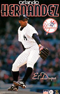 "Orlando Hernandez ""El Duque Action"" New York Yankees Poster - Starline 1999"