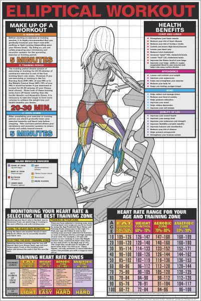 Elliptical Cross-Trainer Workout (Women's) Fitness Wall Chart Poster - Fitnus Posters