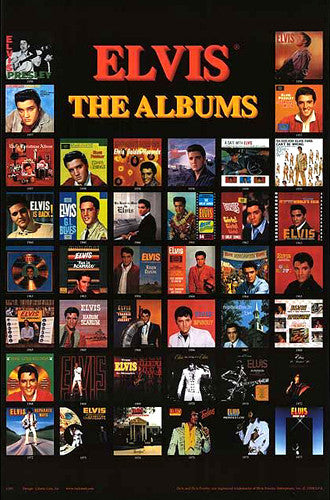 "Elvis Presley ""The Albums"" (40 Record Covers 1956-77) Rock and Roll Music Poster - Studio B"