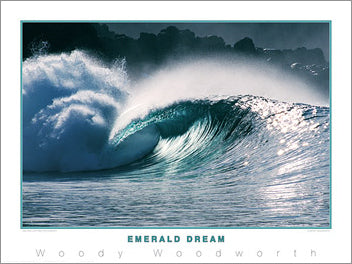 "Surfing ""Emerald Dream"" Poster Print by Woody Woodworth - Creation Captured"