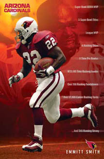 "Emmitt Smith ""Still Running Strong"" Arizona Cardinals NFL Action Poster - Costacos 2004"