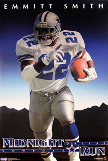 "Emmitt Smith ""Midnight Run"" Dallas Cowboys Poster - Costacos 1994"