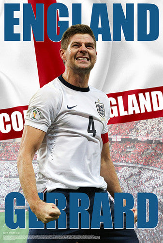 "Steven Gerrard ""Come On England"" World Cup 2014 Soccer Poster - Starz"
