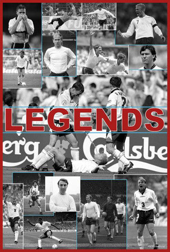 Team England LEGENDS Three Lions Football Classic Soccer Poster - Starz