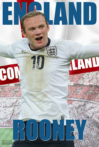 "Wayne Rooney ""Come On England"" World Cup 2014 Soccer Poster - Starz"