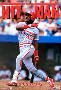 "Eric Davis ""The Hit Man"" (1991) Cincinnati Reds MLB Action Poster - Costacos Brothers"