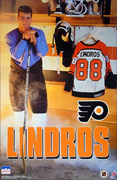 "Eric Lindros ""Locker Room"" Philadelphia Flyers Rookie Year Poster - Starline 1992"