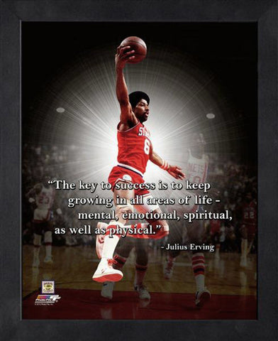 "Julius Erving ""Key To Success"" Philadelphia 76ers FRAMED 16x20 PRO QUOTES PRINT - Photofile"