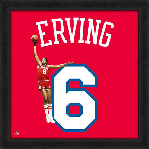 "Julius Erving ""Number 6"" Philadelphia 76ers NBA FRAMED 20x20 UNIFRAME PRINT - Photofile"