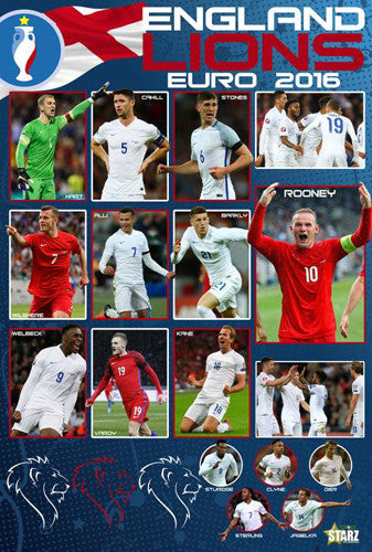 Team England Lions Euro 2016 Squad Football Action Soccer Poster - Starz