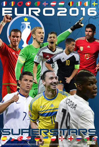 "Euro 2016 ""Superstars"" 8-Player Football Action Soccer Poster - Starz"