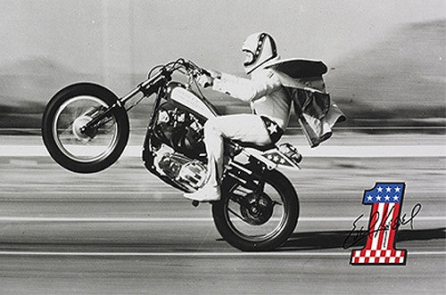 Evel Knievel Classic 1970s Wheelie Signature-One Official Daredevil Poster - Posterservice