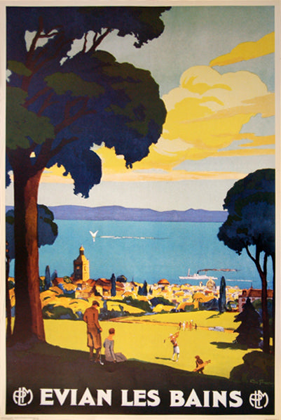 Golf at Evian-les-Bains, France c.1929 Vintage PLM Railways Poster Reprint (Artist Georges Francois)