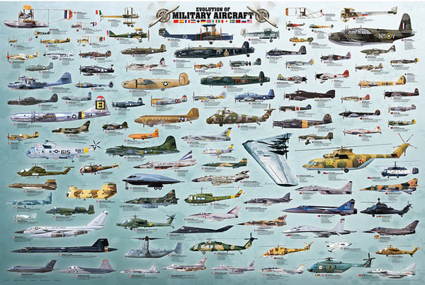 Evolution of Military Aircraft Historical Educational Aviation Poster - Eurographics Inc.