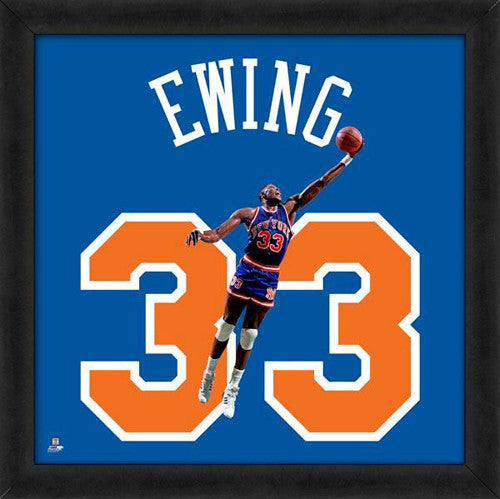 "Patrick Ewing ""Number 33"" New York Knicks NBA FRAMED 20x20 UNIFRAME PRINT - Photofile"