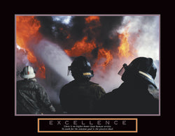 "Firefighters ""Excellence"" Motivational Firefighting Poster - Front Line"