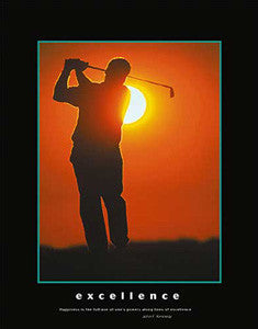 """Excellence"" Motivational Golf Poster (Kennedy Quote) - Eurographics 16x20"