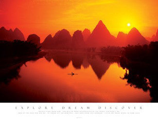"Mountain Sunset ""Explore, Dream, Discover"" Motivational Print - Pyramid (UK)"