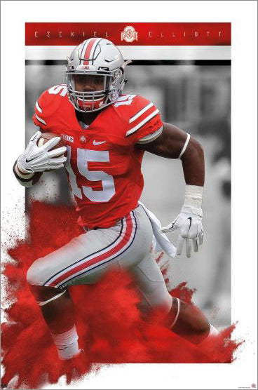 "Ezekiel Elliott ""Legend"" Ohio State Buckeyes Action Premium Wall Poster - Trends International"