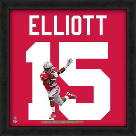 "Ezekiel Elliott ""Number 15 in Red"" Ohio State Buckeyes NCAA FRAMED 20x20 UNIFRAME PRINT - Photofile"