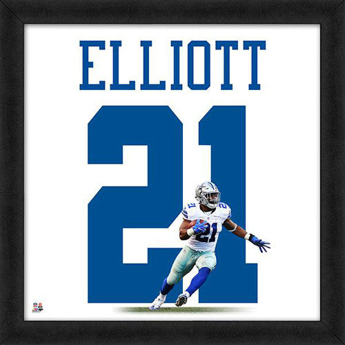 "Ezekiel Elliott ""Number 21"" Dallas Cowboys NFL FRAMED 20x20 UNIFRAME PRINT - Photofile"