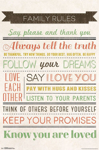 Family Rules Happy Family Inspirational Wall Poster - Trends International