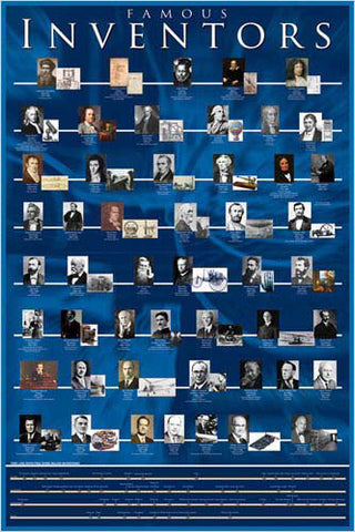Famous Inventors Historical Educational Wall Chart Poster - Eurographics Inc.