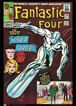 Fantastic Four #50 (Saga of The Silver Surfer May 1966) Marvel Comics Official Cover Poster Print