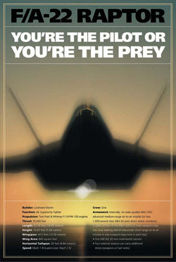 "F-22 Raptor ""Pilot or Prey"" US Air Force American Military Poster - American Image"