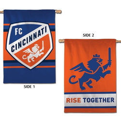 "FC Cincinnati ""Rise Together"" Official MLS Soccer Team 2-Sided 28x40 Wall BANNER - Wincraft Inc."