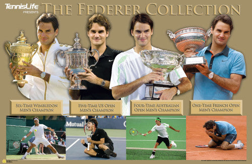 "Roger Federer ""Grand Slam Collection"" Tennis Poster - Tennis Life Inc."