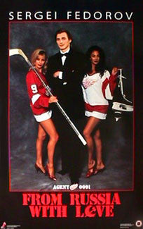 "Sergei Fedorov ""From Russia With Love"" Detroit Red Wings Poster - Costacos 1992"