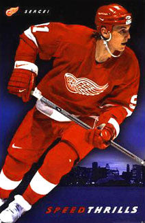 "Sergei Fedorov ""Speed Thrills"" Detroit Red Wings Poster - Costacos 1998"