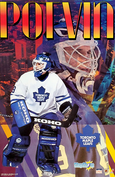 "Felix Potvin ""Slapshots"" Toronto Maple Leafs Hockey Goalie NHL Action Poster - Starline 1994"