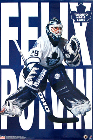 "Felix Potvin ""Blue-and-White"" Toronto Maple Leafs Hockey Goalie NHL Action Poster - Starline 1997"