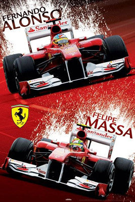 Ferrari Formula 1 Superstars Poster (Fernando Alonso,Felipe Massa) - Pyramid International