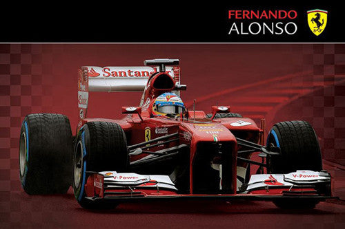 Ferrari F138 Fernando Alonso Formula One Action Poster (2013) - Pyramid International