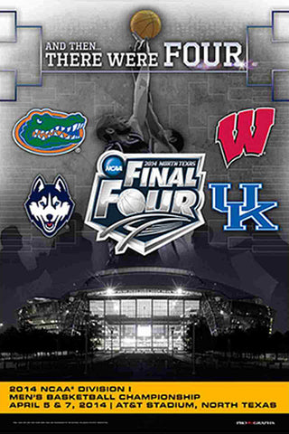 NCAA Men's Basketball Final Four 2014 Official Poster (Wisconsin, Florida, Kentucky, UConn) - Prographs