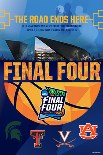 NCAA Men's Basketball Championships 2019 FINAL FOUR Official Poster (Michigan State, Texas Tech, Virginia, Auburn) - ProGraphs