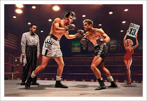 "Boxing ""Final Round"" Elvis vs. James Dean Poster Print by Chris Consani - Image Conscious"